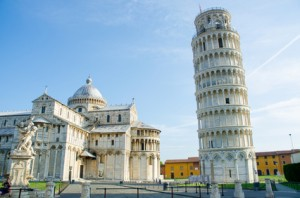 Famous leaning tower of Pisa during summer day